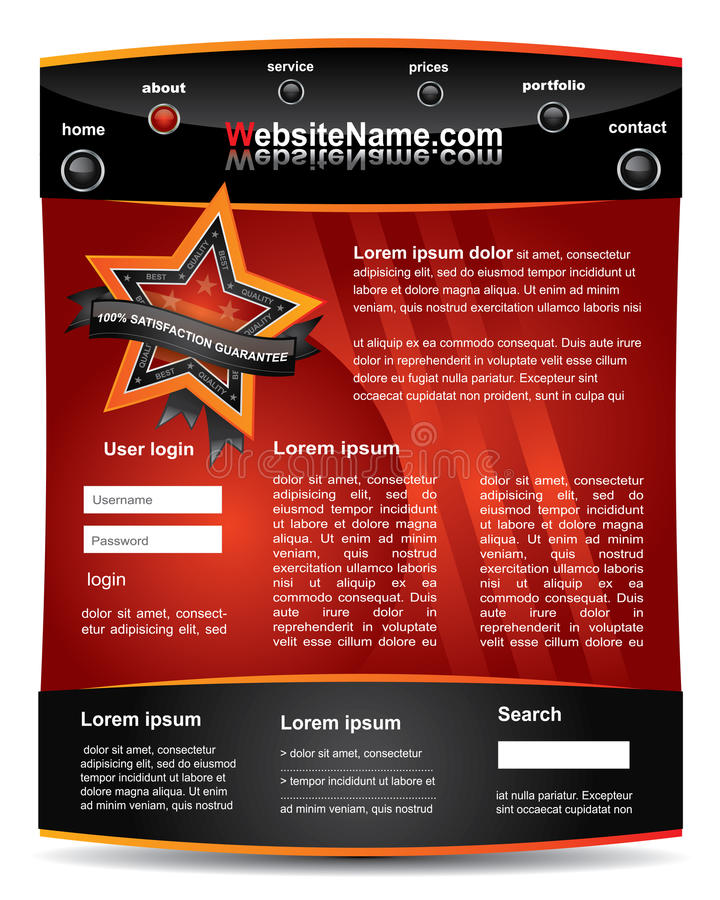 Descripteur editable rouge et noir de site Web illustration libre de droits