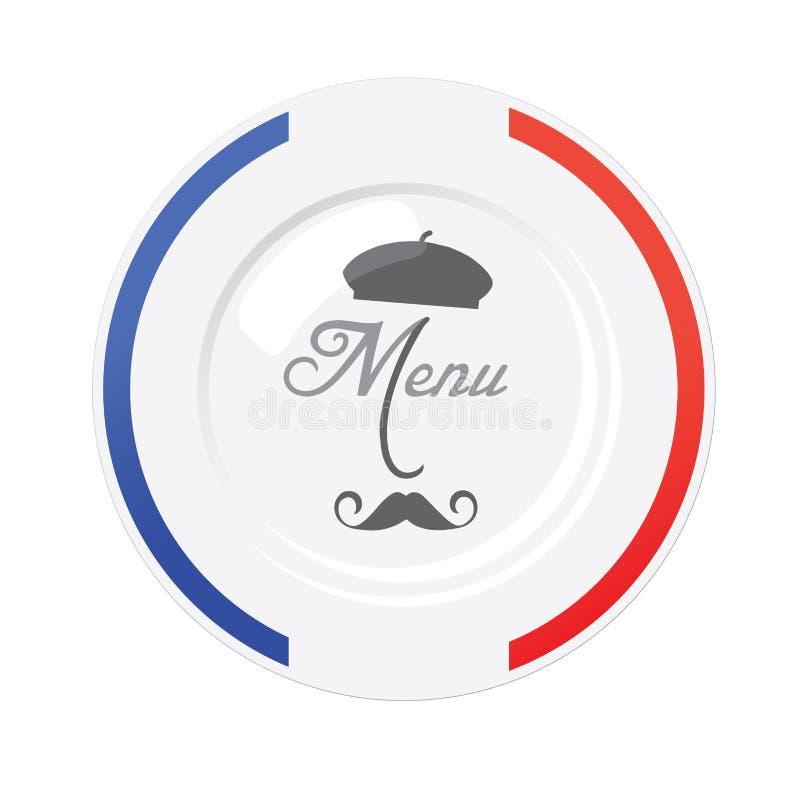 Descripteur français de conception de carte de restaurant illustration libre de droits