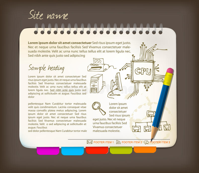 Descripteur horizontal de site Web illustration de vecteur