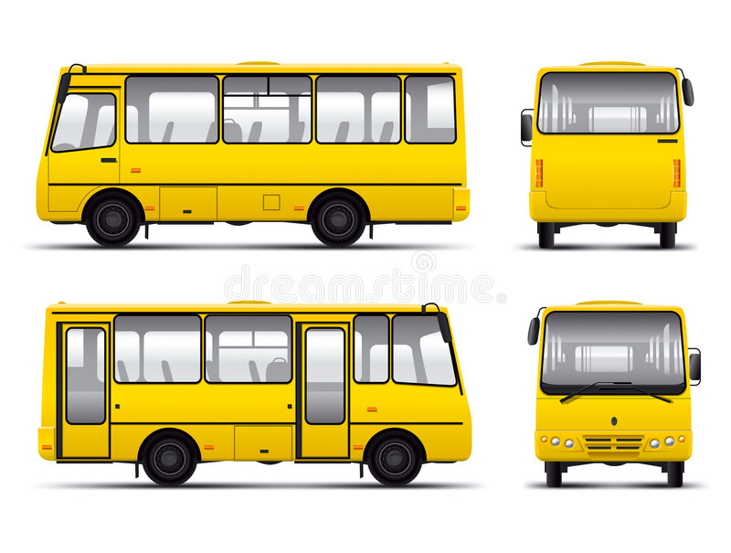 Descripteur jaune de traite de vecteur de minibus illustration stock