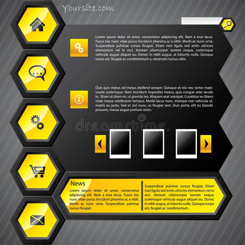 Descripteur jaune hexa de Web illustration stock