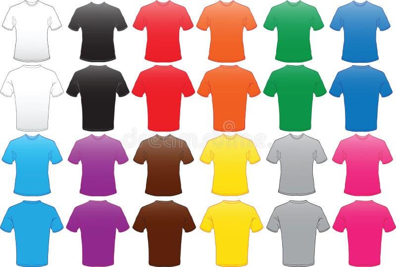 Descripteur mâle de chemises dans beaucoup de couleurs illustration stock