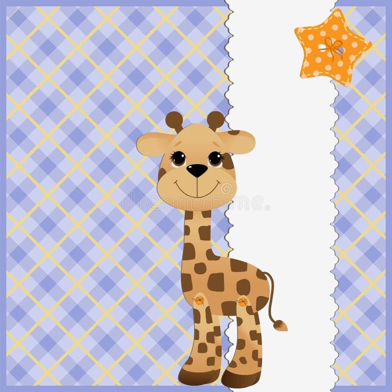 Descripteur mignon pour la carte postale avec la giraffe illustration libre de droits