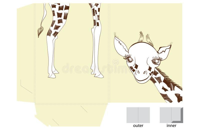 Descripteur pour le dépliant avec la giraffe illustration de vecteur