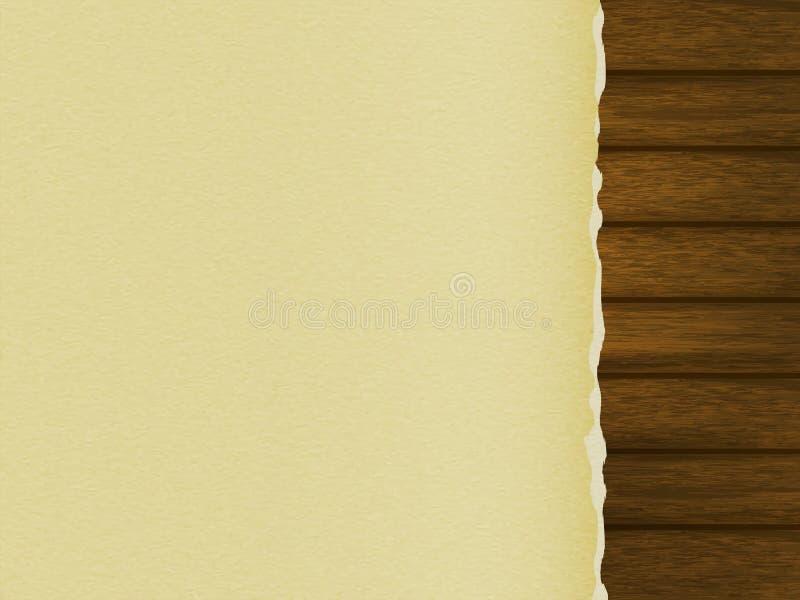 Descripteur pour votre conception une page de papier blanche avec les bords déchirés sur une table en bois illustration stock
