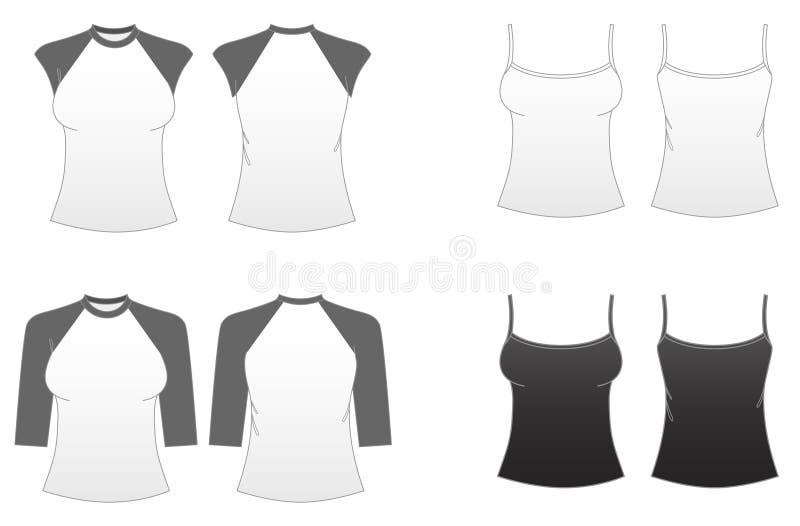 Descripteur-Séries adaptées 3 du T-shirt des femmes illustration stock