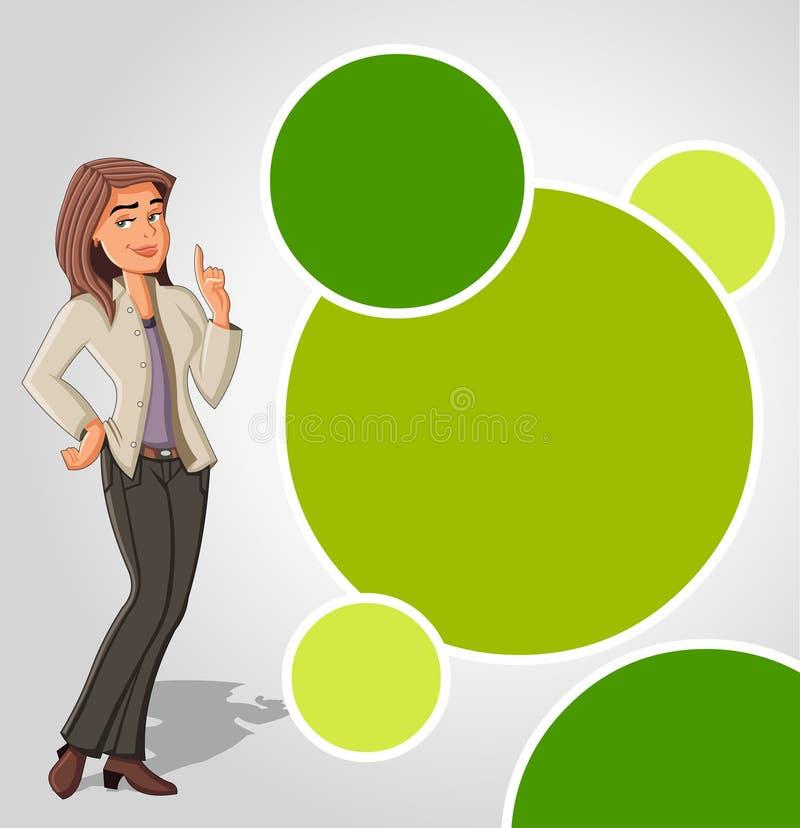 Descripteur vert avec le femme de dessin animé illustration libre de droits