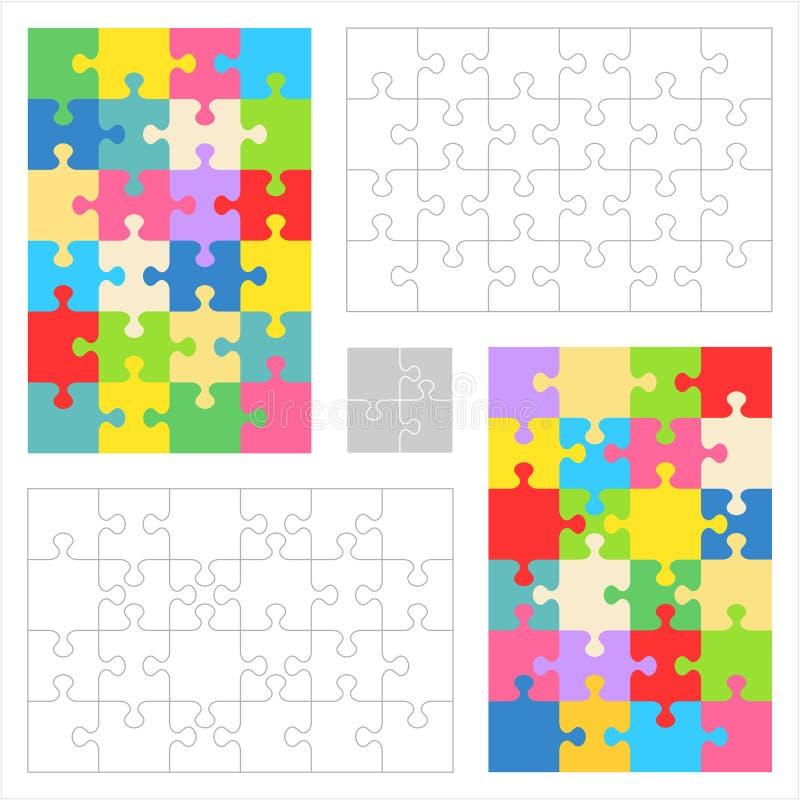 Descripteurs de blanc de puzzle denteux, configurations colorées illustration stock