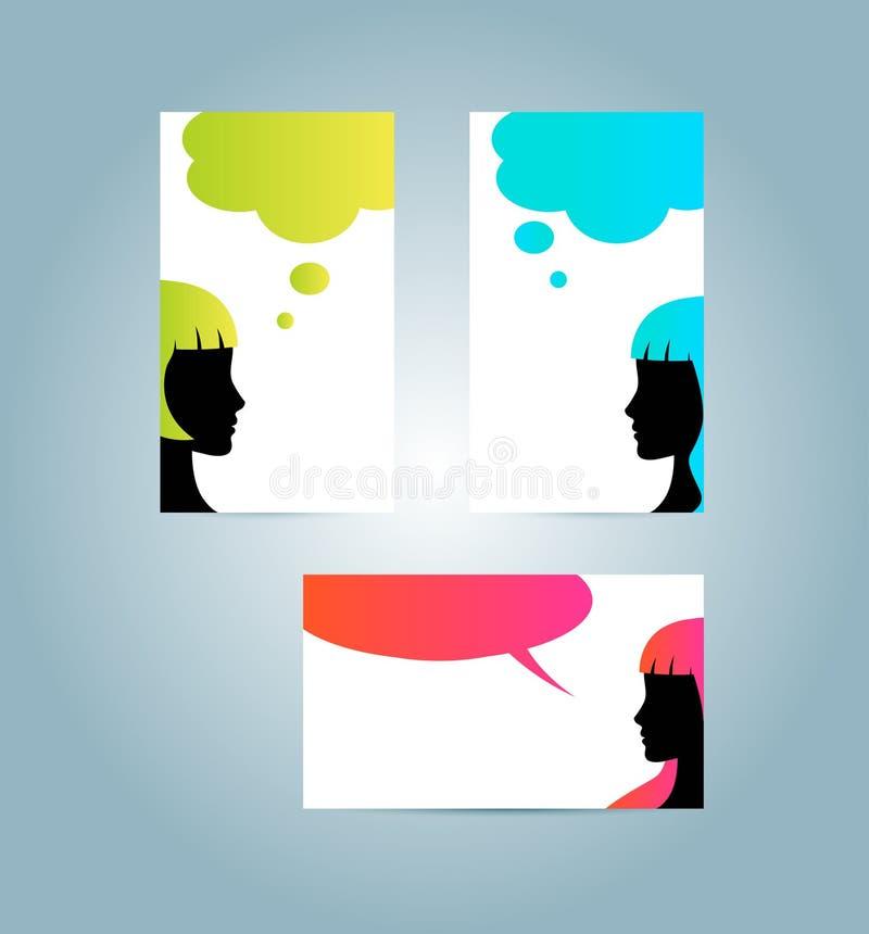 Descripteurs de carte de visite professionnelle de visite de bulle de la parole illustration stock