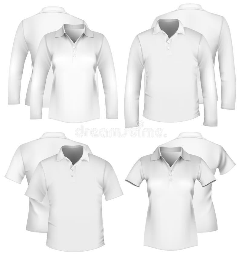 Descripteurs de conception de la chemise des hommes et des femmes. illustration stock