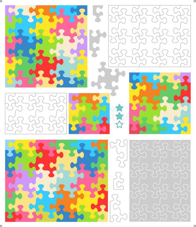Descripteurs de puzzle denteux, parties lunatique formées illustration stock