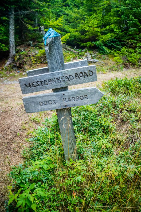 A description board for the trail in Acadia National Park, Maine stock photography
