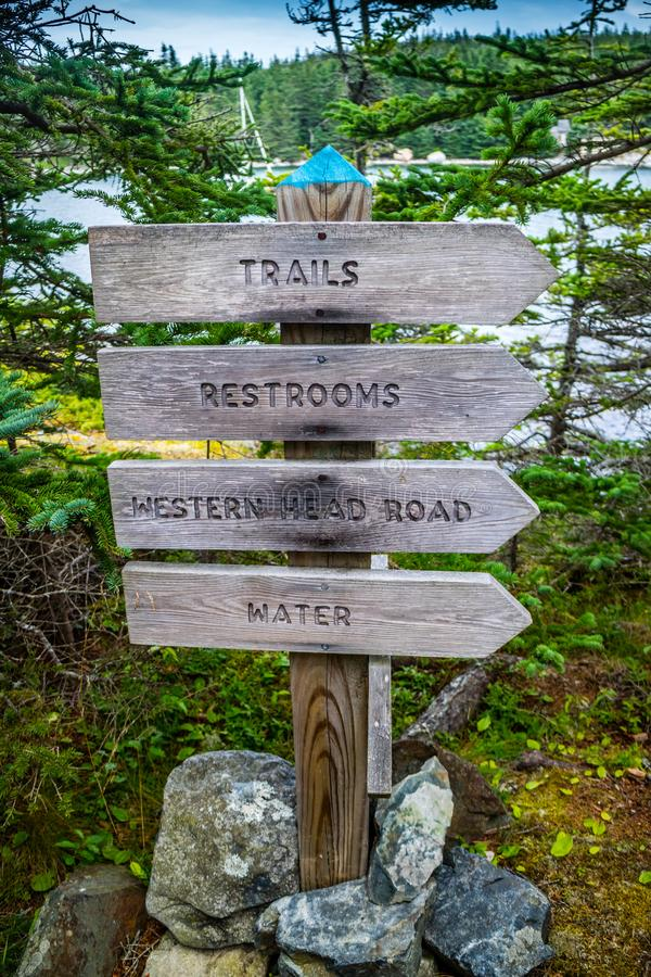 A description board for the trail in Acadia National Park, Maine royalty free stock photography