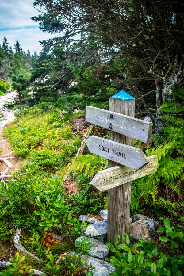 A description board for the trail in Acadia National Park, Maine stock images