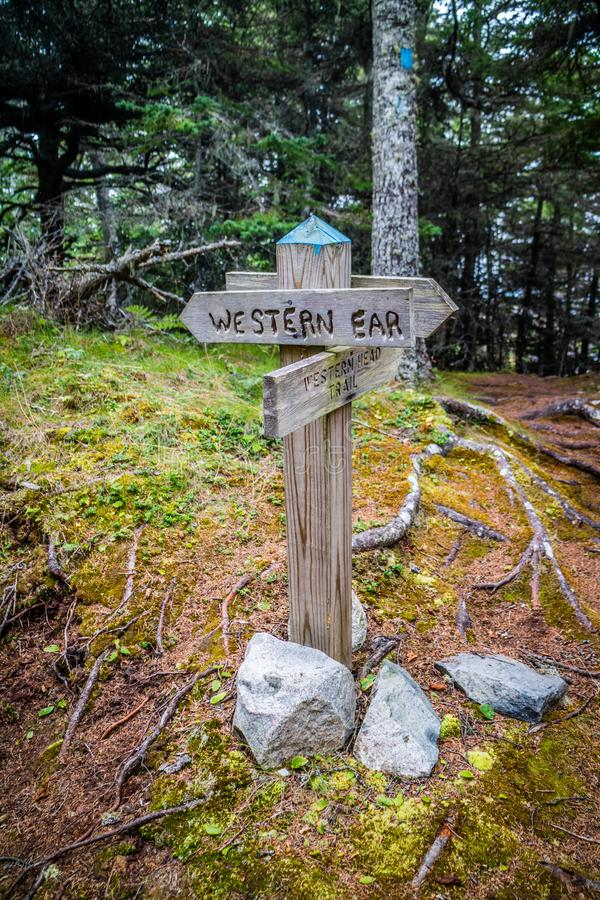 A description board for the trail in Acadia National Park, Maine stock photo