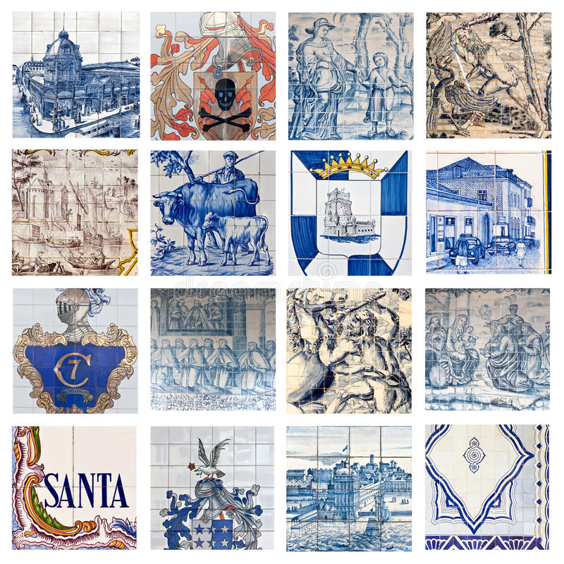 Descriptive Portuguese Tiles Collage. Collage showing the traditional descriptive colored tiles placed on many building facades in Portugal royalty free stock photo