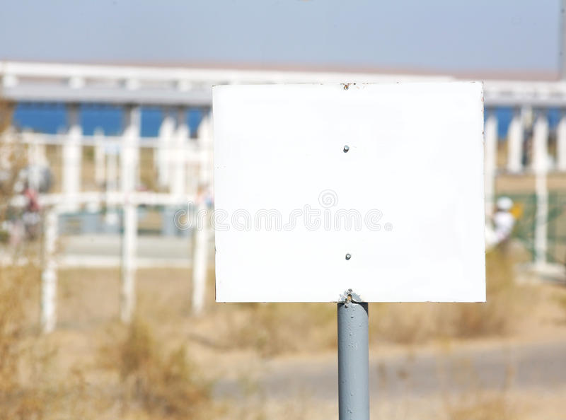 Descriptive sign. On industrial site royalty free stock photography