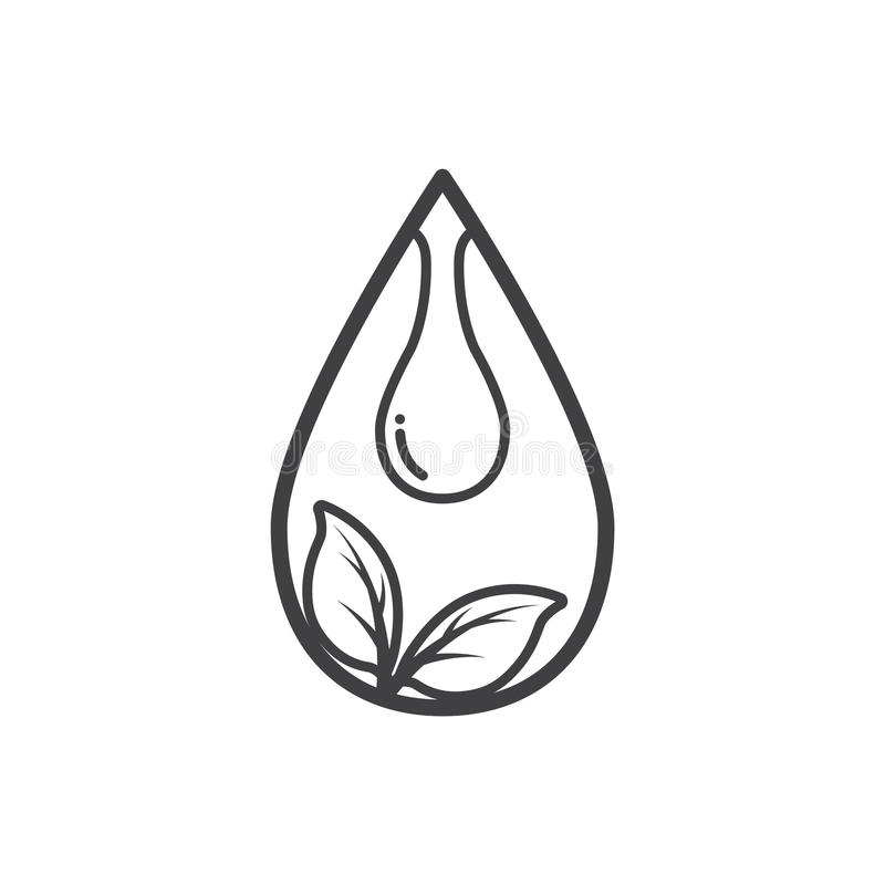 Descriva l'icona dell'ecologia, la foglia e l'acqua di goccia illustrazione vettoriale