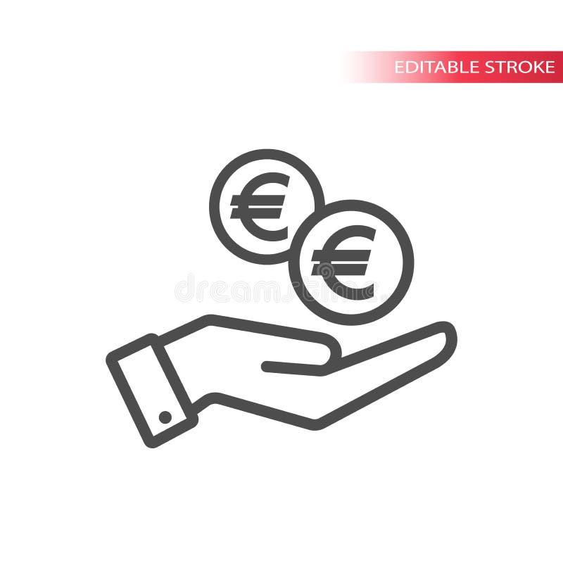 Descriva l'icona piana di euro monete che cadono a disposizione Mano e monete che cadono web Euro moneta e una palma illustrazione di stock