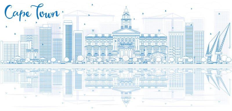 Descriva l'orizzonte di Città del Capo con le costruzioni blu e la riflessione royalty illustrazione gratis