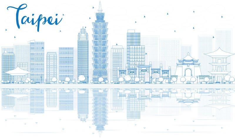 Descriva l'orizzonte di Taipei con le costruzioni blu e le riflessioni illustrazione vettoriale