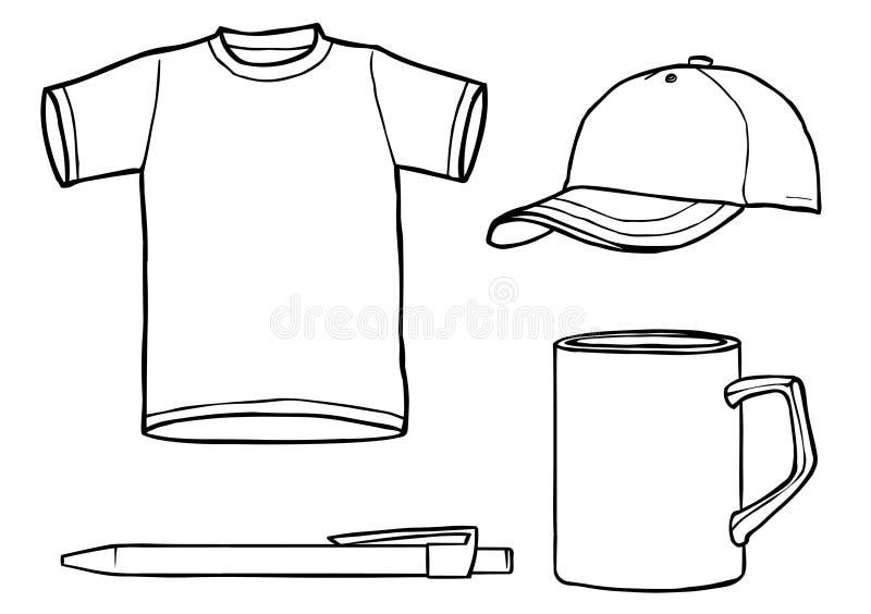 Descriva la camicia del modello, la protezione, la tazza, una penna illustrazione di stock