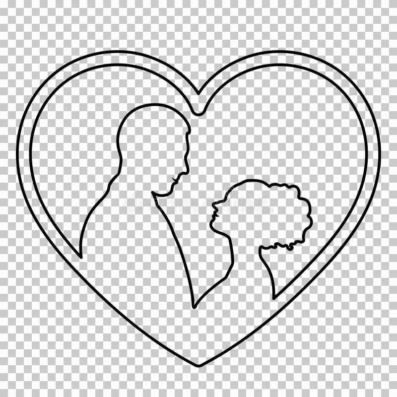 Descriva la figura coppia nell'amore su fondo trasparente, il disegno a tratteggio in bianco e nero, stampino di vettore Ritratto royalty illustrazione gratis