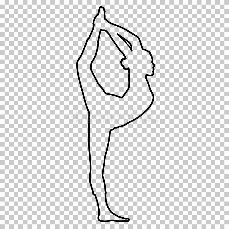 Descriva la figura donna che fa allungando le gambe, spaccatura su fondo trasparente, ragazza della siluetta impegnata in ginnast royalty illustrazione gratis