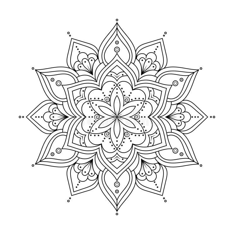 Descriva la mandala per il libro da colorare, modello di terapia di anti-sforzo Elementi rotondi etnici Fondo disegnato a mano di illustrazione di stock