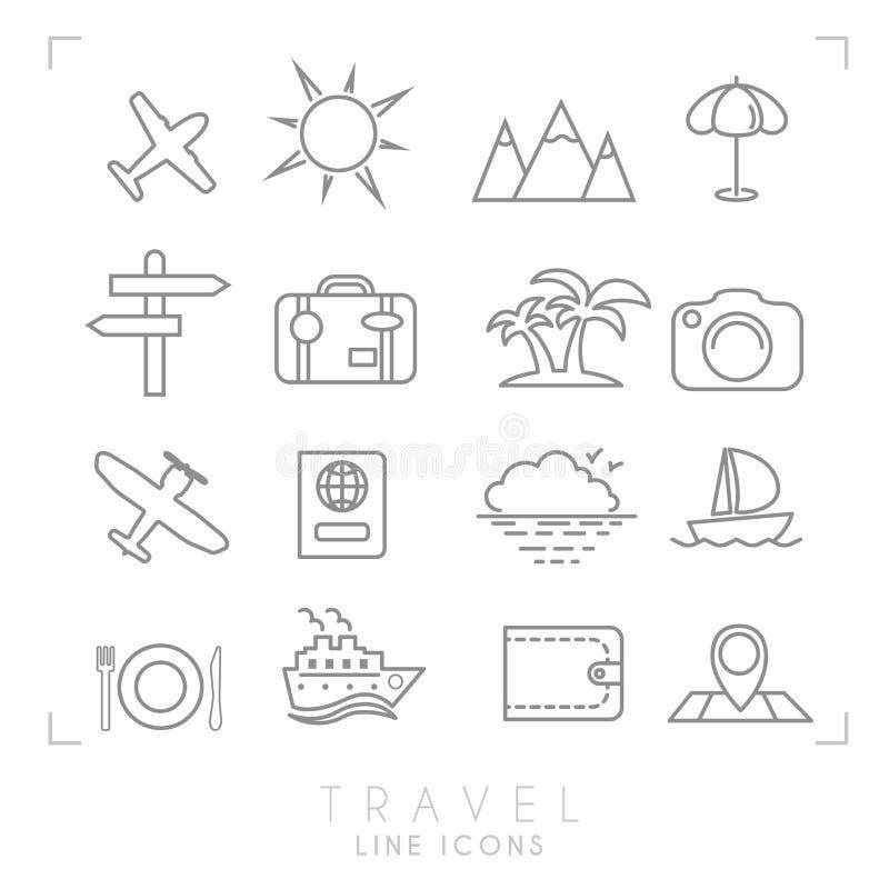 Descriva la raccolta messa icone sottile di vacanza e di viaggio illustrazione vettoriale