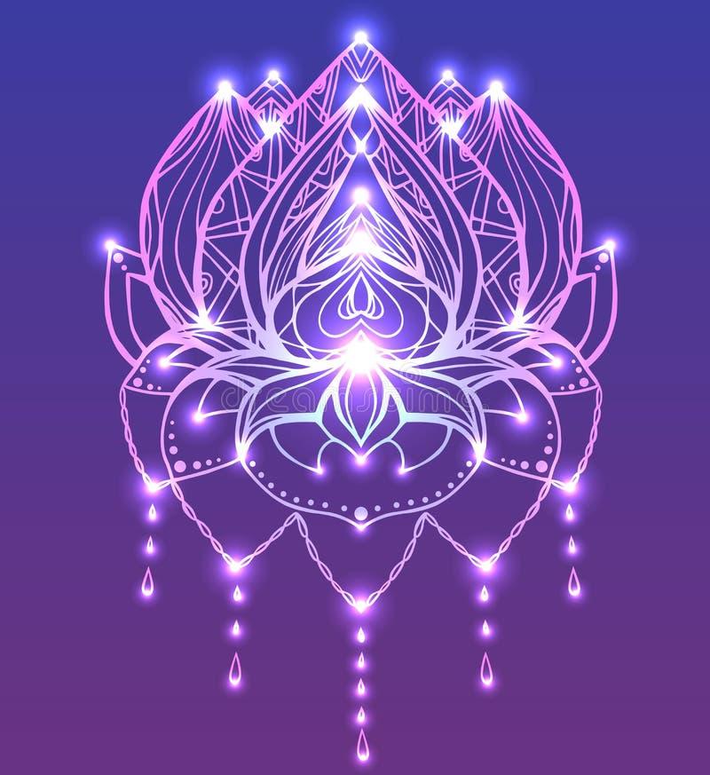 Descriva Lotus con il modello di boho e la scintilla luminosa illustrazione vettoriale