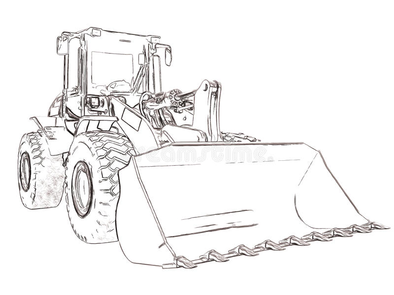Descrive il bulldozer illustrazione vettoriale