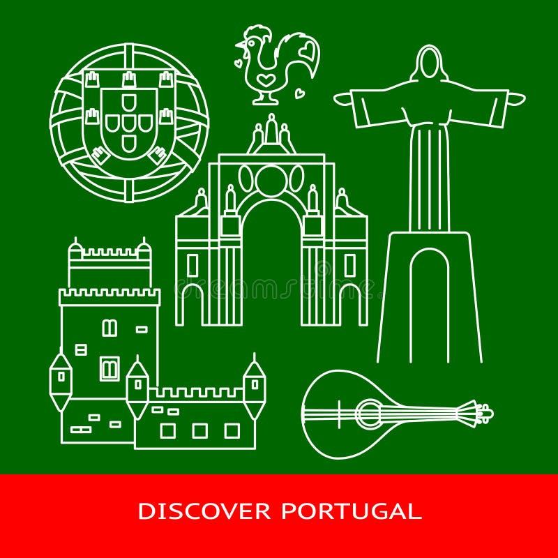 Descubra a bandeira de Portugal ou o molde do cartaz com ícones na linha estilo ilustração do vetor