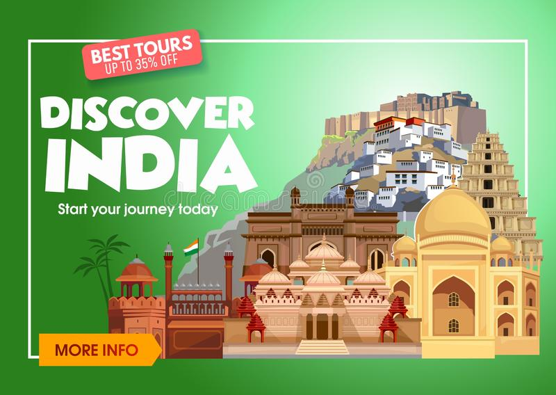 Descubra a bandeira do curso da Índia Viagem ao conceito de projeto da Índia Ilustração do curso da Índia Bandeira do promo do cu ilustração stock