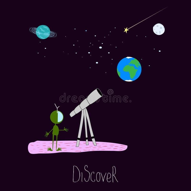 Descubra da inspiração extraterrestre satélite do cosmos do telescópio da lua da estrela do planeta do curso do espaço do univers ilustração royalty free
