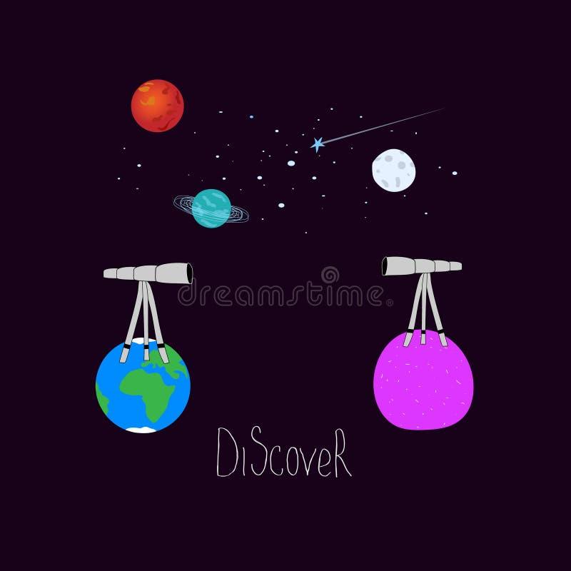 Descubra el diseño gráfico del viaje del espacio del universo del planeta de la estrella de la luna del telescopio del cosmos de  ilustración del vector