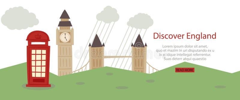 Descubra a ilustração do vetor do design web da bandeira de Inglaterra Vistas do turista de Londres e símbolos de Grâ Bretanha, b ilustração stock
