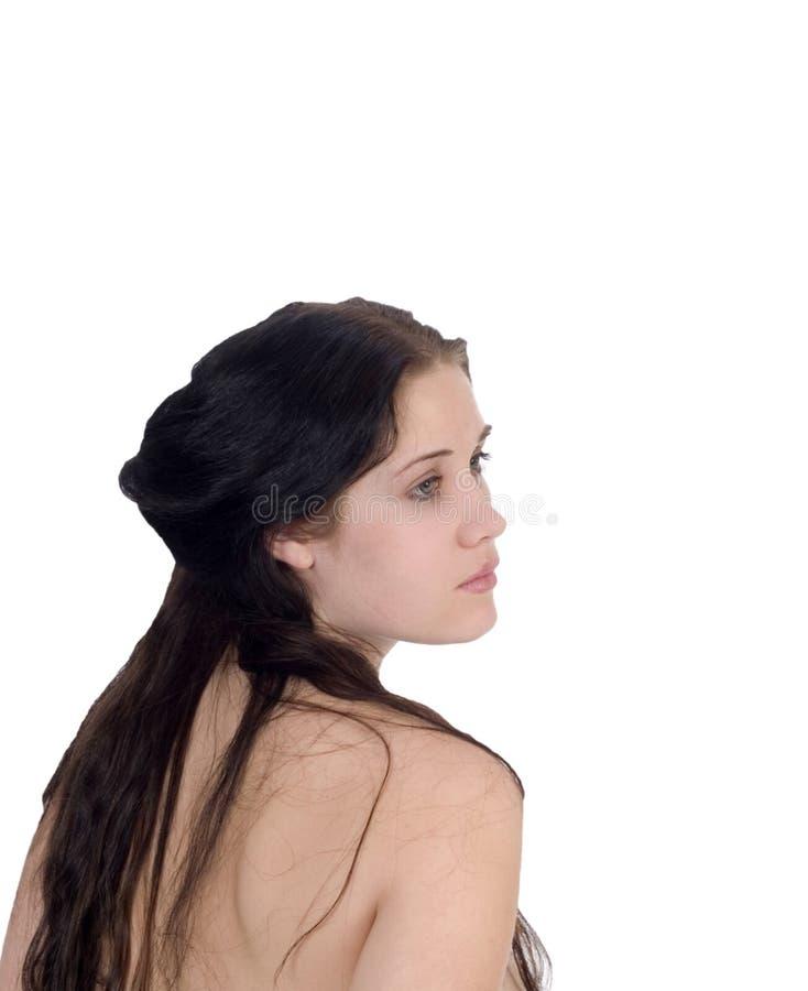 Descubra a la mujer joven del retrato posterior del perfil fotos de archivo