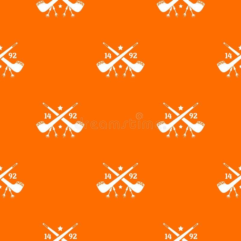 Descubra a laranja do vetor do teste padrão de América 1492 ilustração stock