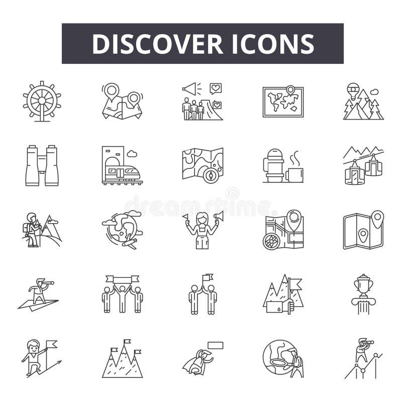 Descubra a linha ícones, sinais, grupo do vetor, conceito da ilustração do esboço ilustração do vetor