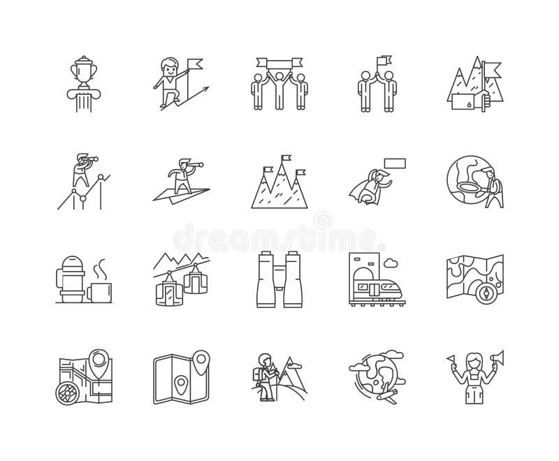 Descubra a linha ?cones, sinais, grupo do vetor, conceito da ilustra??o do esbo ilustração do vetor