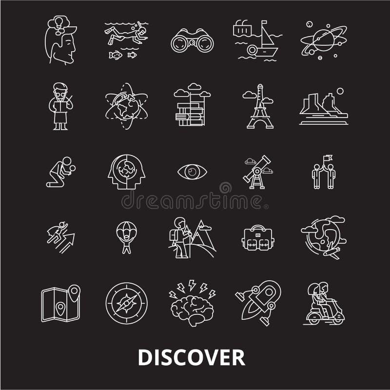 Descubra a linha editável grupo do vetor dos ícones no fundo preto Descubra as ilustrações brancas do esboço, sinais, símbolos ilustração royalty free