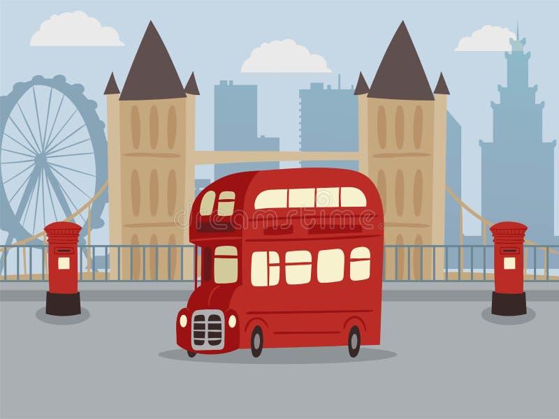Descubra Londres na ilustração vermelha do vetor da bandeira do ônibus do ônibus de dois andares Ônibus retro do veículo do servi ilustração stock
