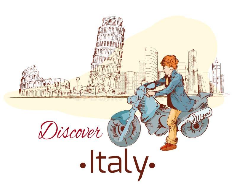 Descubra o cartaz de Itália ilustração stock