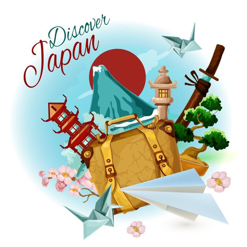 Descubra o cartaz de Japão ilustração royalty free