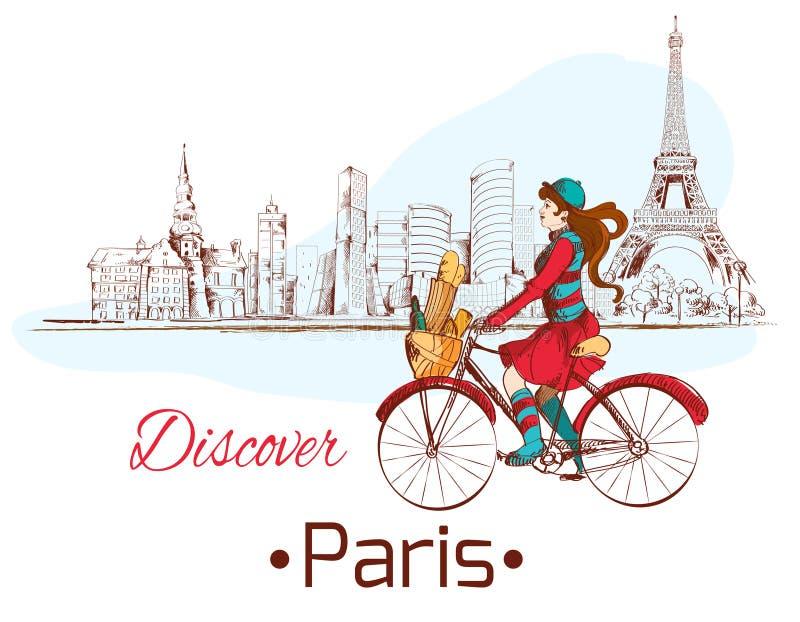 Descubra o cartaz de Paris ilustração do vetor