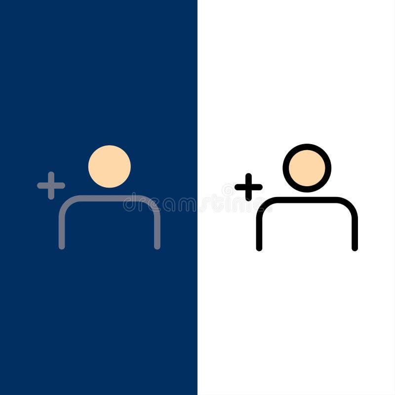Descubra povos, Instagram, ajuste ícones O plano e a linha ícone enchido ajustaram o fundo azul do vetor ilustração royalty free