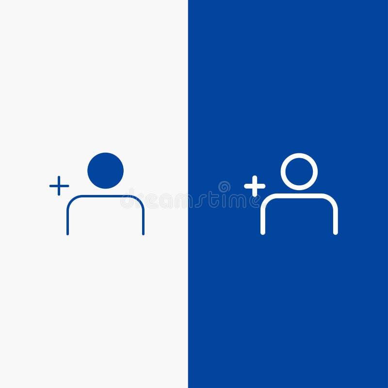 Descubra povos, Instagram, ajuste do ícone contínuo azul da linha e do Glyph de bandeira do ícone contínuo da linha e do Glyph ba ilustração stock
