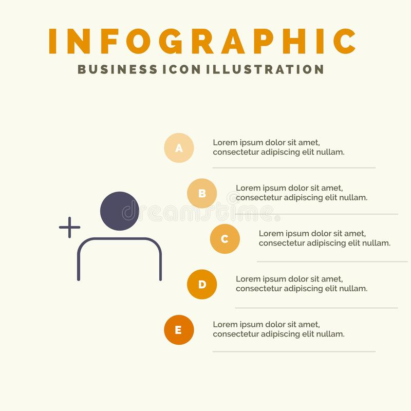 Descubra povos, Instagram, fundo contínuo da apresentação das etapas de Infographics 5 do ícone dos grupos ilustração do vetor