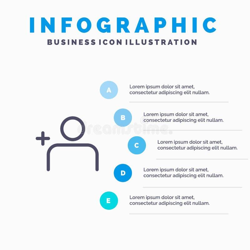 Descubra povos, Instagram, grupos alinham o ícone com fundo do infographics da apresentação de 5 etapas ilustração stock